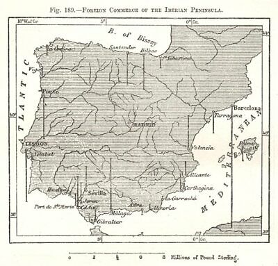 Foreign Commerce of the Iberian Peninsula. Spain Portugal. Sketch map 1885