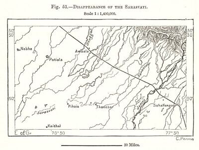 Disappearance of the mythical Sarasvati river. India. Sketch map 1885 old