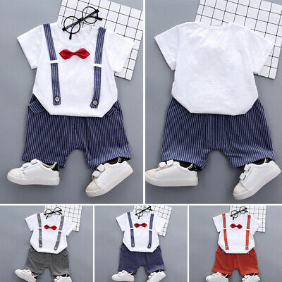 Summer Baby Boys Short Sleeve T Shirt Tops + Short Pants Suit Clothes Outfits