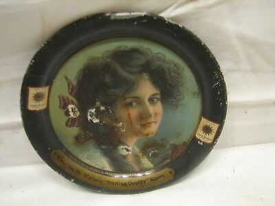 The Smith Wallace Shoe Co Advertising Tip Tray Chicago Victorian Woman Ad