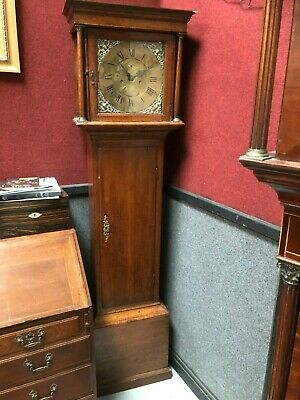 19th Century Oak Long Case Grandfather Clock N Baker Hull