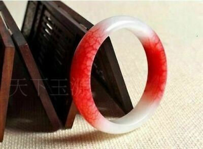 Chinese Natural Beautiful Red White Jade Bangle Bracelet Handmade 62mm