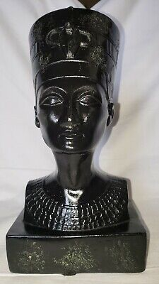 Queen Nefertiti Egyptian 10.5 in High 4.38 lbs. Bust Head Ceramic Statue