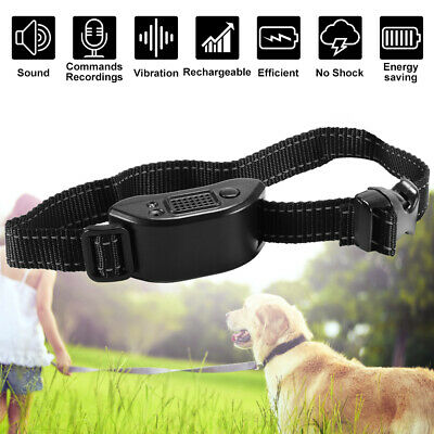 Adjustable Anti Barking Collar Dog No Bark Human Training Sound Vibration PS385