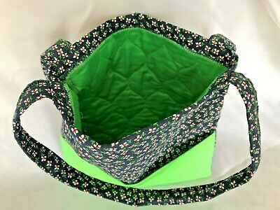 "Blue Green Floral Print 9.5X10"" Fabric Purse Bag 2 Pockets & Two 14"" Straps"