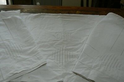 """Gorgeous Antique Embroidered French Monogram Sheet """" D M """" Kingsize 92"""" X 104"""""""