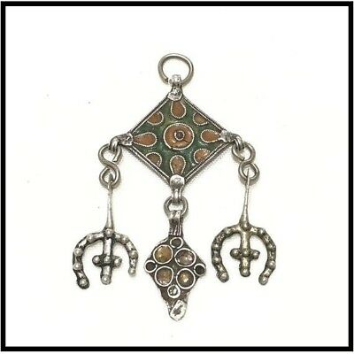 Free Shipping Handmade Vintage Old Morocco Antique Silver Pendant Ethnic Jewelry