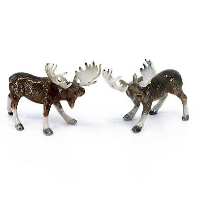 "Miniature Pair of Ceramic Moose Figurines 2"" High Glossy New"