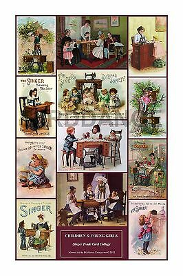 Singer Toy Sewing Machine wall art CARD COLLAGE CHILDREN & GIRLS