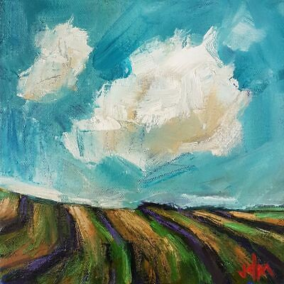 Original Oil Painting by Canadian Artist Jamie McCallum, Clouds Over Crops, 8x8