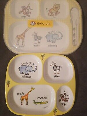Baby Cie Melamine Sectioned Plates Zoo Animals