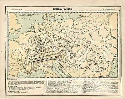 1872 Antique Geography Map Central Europe Mountain Ranges Carpathian Alps