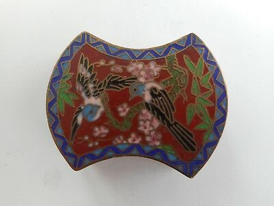 Charming Antique / Vintage Chinese Enamel / Cloisonne Box - Birds, Flowers