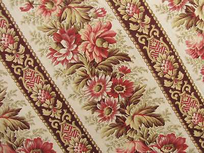 Fabric Floral and Stripe design Antique French linen & cotton c1880 madder dye