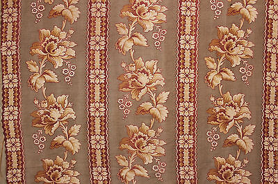 Fabric Antique French c1890 printed large scale cretonne material 2.8 yards plus