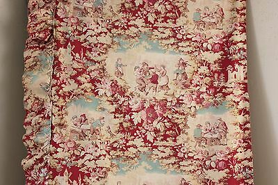 Toile Fabric Cotton red & blue c1900 Antique French material w/ ruffle 2.66 yard