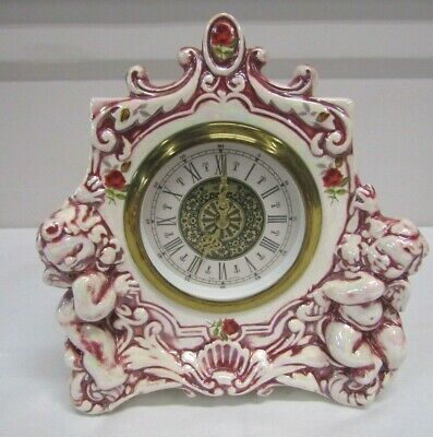 Vintage Kentocs Porcelain Ceramic Cherubs Wind Up Mantel Clock West Germany