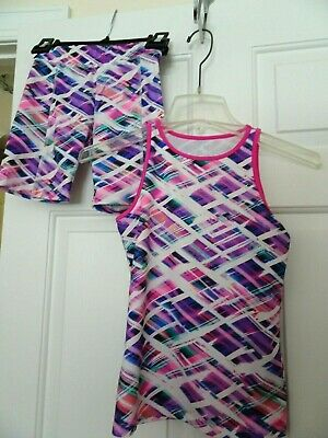 So Girls Size 10 Knit Athletic/Dance Top W. Matching Shorts/Pants/Spandex-Euc