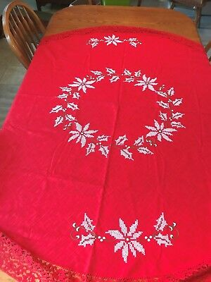 """Sweet Vintage Hand Embroidered Christmas Round Red Tablecloth 65"""" Diameter"""