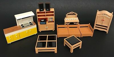 Lot Vtg 70s TOMY Smaller Home and Garden Dollhouse Furniture Kitchen Living room
