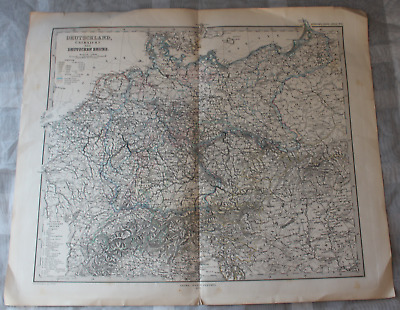 Map Outline Map of Germany German Reich Steilers Hand Atlas No