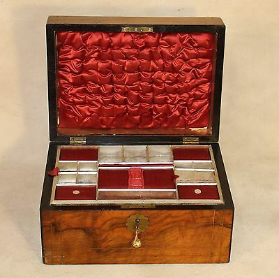 Gorgeous 19th c Rosewood Dresser Box w Brass Inlay & Satin Fitted Interior & Key