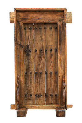 Antique  Sculpture  Carved Elm Wood Door Wall Panel.50'' X 20'' X 84''H.
