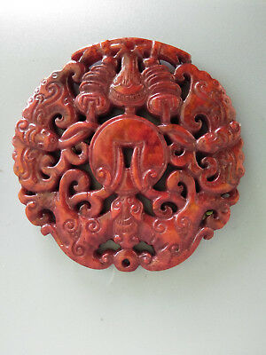 Chinese Exquisite Hand-carved old jade bats pendants Aa41