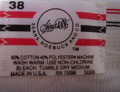 NOS Vtg White Cotton Blend Sears Briefs Red Black Stripe Band UNWORN 38 USA 3 Pr