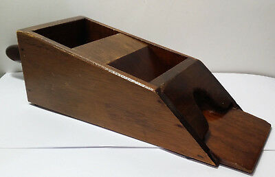 """Vintage Collectible Wooden Playing Card Dealer Shoe With Rollers. 15"""" Long."""