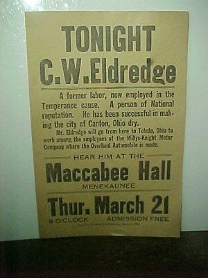 Early 1900s Temperance Cause Meeting Broadside Maccabee Hall Ohio Early Flyer