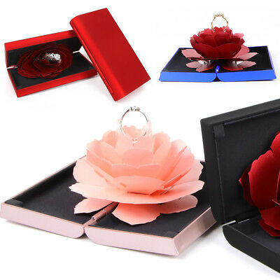 New Surprise Pop-up Rose Wedding Engagement Rings Box Jewelry Storage Holder