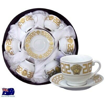 Milano Medusa Face Espresso Coffee Cups & Saucers Set Of 6 Gold Rm108 New