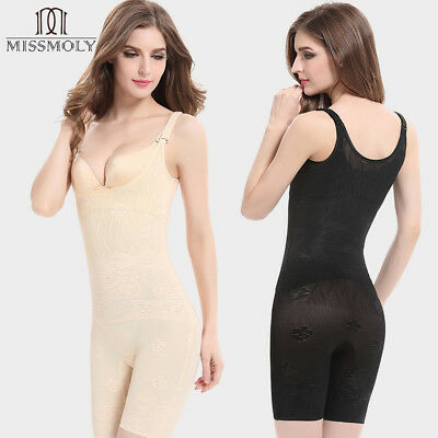 US Women Mid Thigh Full Body Shapers High Compression Shapewear Open Bust Corset