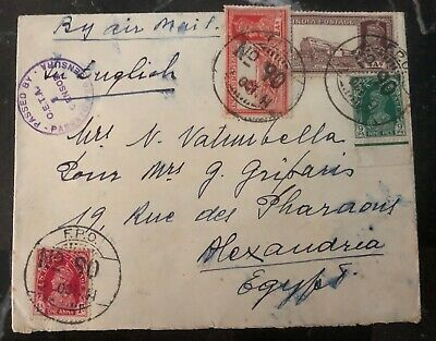 1941 Asmara Eritrea Military PO Censored Cover To Alexandria Egypt India Stamp