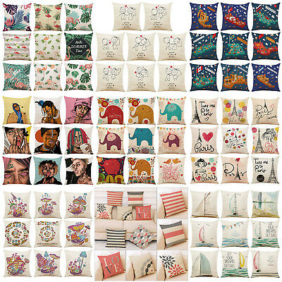 Sailing Animal Geometry Linen Pillow Case Sofa Seat Home Car Cushion Cover Decor
