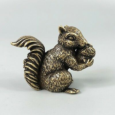 Rare Collectible Old Brass Handwork Chinese Antique Lifelike Squirrel Statue