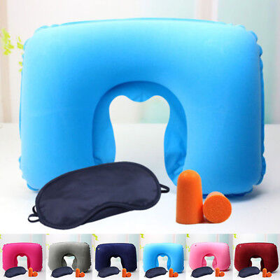 Inflatable Travel Neck Pillow U Shaped Memory Rest Flight Head Support With Kits
