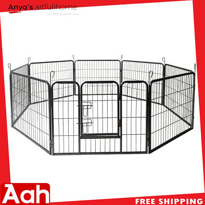 "24"" Dog Pet Playpen HeavyDuty Metal Exercise Fence Kennel w/ Door 8 Panel Silver"
