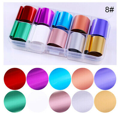 10 Rolls/Box Holographic Nail Foil Candy Rose Gold Transfer Stickers Decals Tips