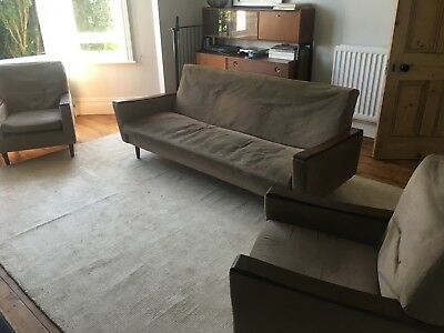 Mid Century Atomic Vintage Retro Sofa Bed 2 arm chairs fire side chairs