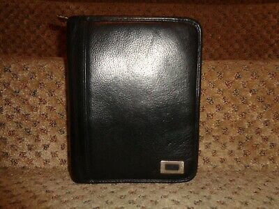 Franklin Covey Black Soft Pebbled Leather Compact Size Zipper Close Planner