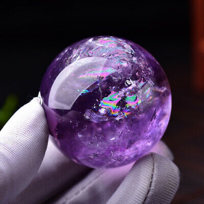Natural Amethyst Quartz Stone Sphere Crystal Fluorite Ball Healing Gemstone