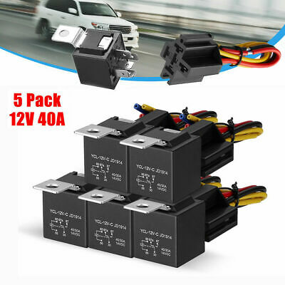 5x 12V SPDT Car Automotive Relay 5-Pin 5 Wires + Harness Socket JD1914 30/40 Amp