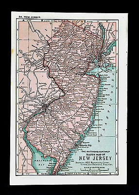 1900 Mathews-Northrup Handy Map of New Jersey - Trenton Princeton Newark Camden