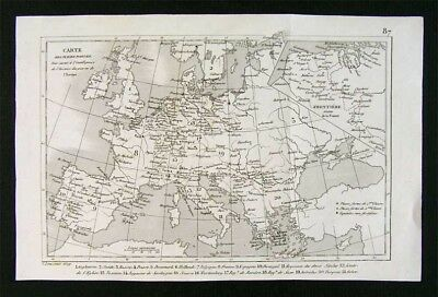 c. 1835 Levasseur Map - Principal Forts in Europe - Spain France Germany Italy