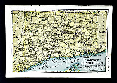 1900 Mathews-Northrup Handy Map of Connecticut - New Haven Hartford Bridgeton
