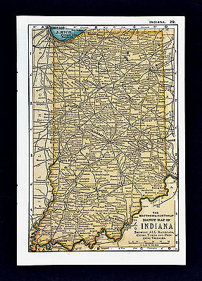 1900 Mathews-Northrup Handy Map of Indiana - Indianapolis Evansville South Bend