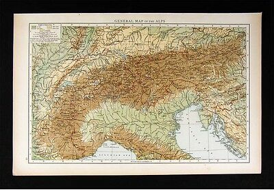 1896 Times Map - Alps - Switzerland Italy Germany Austria France Europe Physical