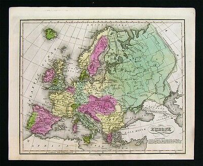 1835 Smith Map - Europe - Spain France Germany Austria Russia Italy Sweden